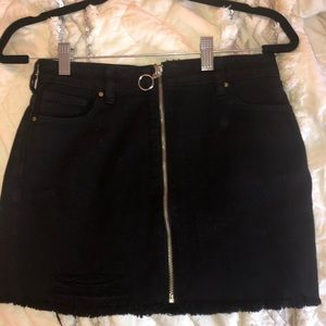 black skirt with zipper down front